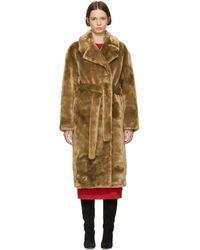 Tibi ブラウン フェイクファー オーバーサイズ Luxe トレンチ コート