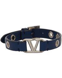 Valentino Garavani Blue Calfskin Vlogo Eyelet Bracelet