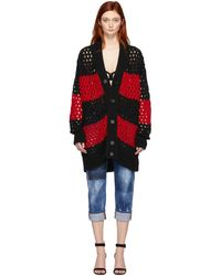 DSquared² - Black And Red Striped Knit Cardigan - Lyst