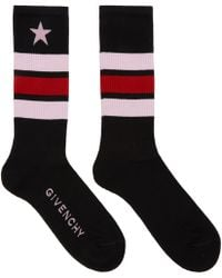 Givenchy | Black And Pink Stripes And Star Logo Socks | Lyst