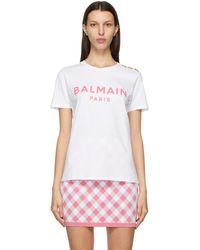 Balmain - ホワイト And ピンク ロゴ T シャツ - Lyst