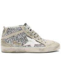 Golden Goose Deluxe Brand Silver Glitter Mid Star Sneakers - Metallic