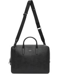 Smythson Black Panama Slim Lightweight Briefcase