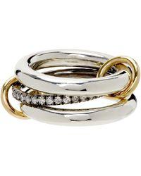 Spinelli Kilcollin Silver Diamond Libra Gris Three-link Ring - Metallic