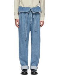 Loewe - Indigo Belted Pleated Oversized Jeans - Lyst