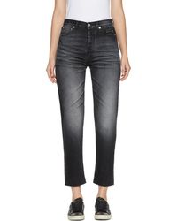 Saint Laurent - Black Embroidered Slim Cropped Jeans - Lyst