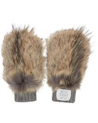 Stella McCartney Brown And Gray Faux-fur Mittens