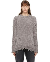 R13 グレー シェニール ディストレス セーター