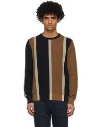 Ferragamo ネイビー & ブラウン シルク ストライプ セーター - ブルー