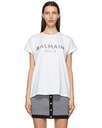 Balmain - ホワイト ロゴ T シャツ - Lyst
