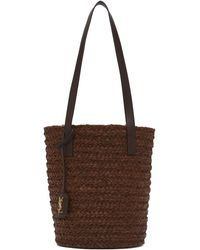 Saint Laurent Cabas en raphia brun Small Panier - Marron