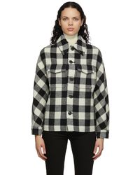 AMI ブラック & ホワイト ウール チェック Lumberjack ジャケット