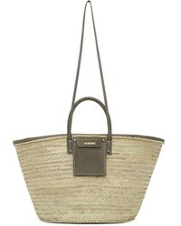 Jacquemus - Beige And Grey Le Grand Panier Soleil Tote - Lyst