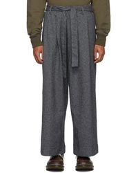 Naked & Famous Gray Tweed Wide Pants