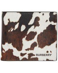 Burberry ブラウン And ホワイト カウ International バイフォールド ウォレット - ブラック