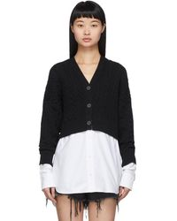 T By Alexander Wang - Black And White Bi-layer Cardigan - Lyst