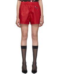Prada - Red Nylon Gabardine Triangle Shorts - Lyst