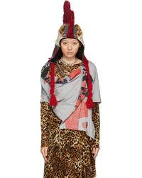 Junya Watanabe Crested Knit & Faux-fur Beanie - Multicolour