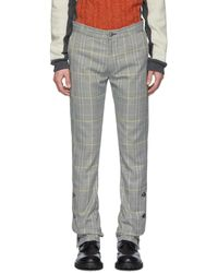 Daniel W. Fletcher Gray Check Woolmark Split Hem Pants