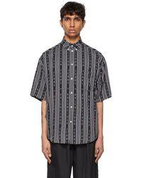 Balenciaga ブラック & グレー ロゴ ストライプ ショート スリーブ パジャマ シャツ