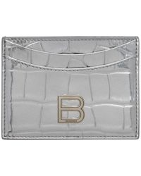 Balenciaga シルバー クロコ Hourglass カード ケース - メタリック