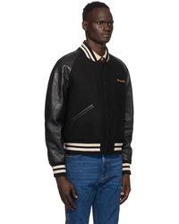 Gucci ブラック フェルト & レザー ボンバー ジャケット