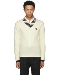 Gucci - V-neck Wool Knit With Bee - Lyst