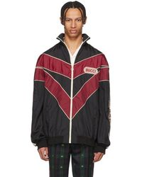 Gucci - Red And Black Vintage Nylon Track Jacket - Lyst