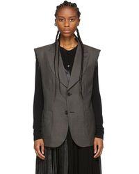 Junya Watanabe Gray Wool Sharkskin Deconstructed Vest - Brown