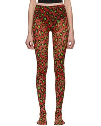 Gucci Red And Green Leopard Tights