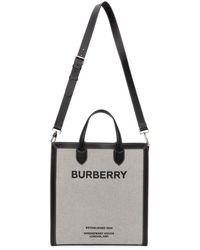 Burberry Gray Horseferry Kane Tote - Black