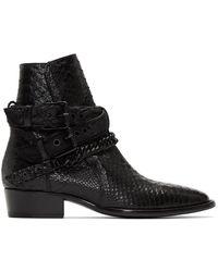 Amiri ブラック バックル チェーン ブーツ