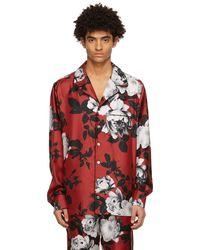 Dolce & Gabbana レッド カメリア プリント パジャマ シャツ