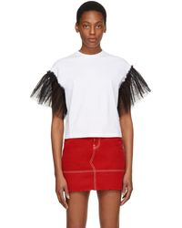 MSGM | Ssense Exclusive White Tulle Sleeves T-shirt | Lyst