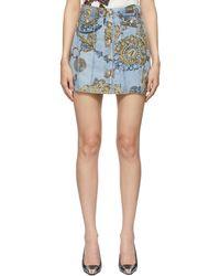 Versace Jeans Couture ブルー & ゴールド Regalia Baroque Print デニム ミニスカート