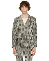 Homme Plissé Issey Miyake Black & Off-white Striped Hologram Blazer