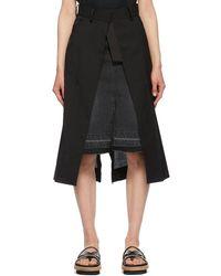 Sacai - ブラック Suiting スカート - Lyst