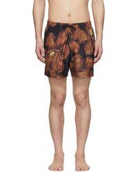 Dries Van Noten Black And Orange Floral Swim Shorts - Multicolour