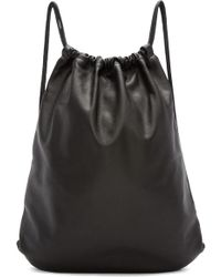 Marc Jacobs Black Leather Drawstring Backpack