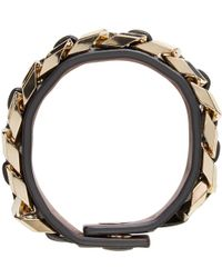 Givenchy - Black Chain & Leather Bracelet - Lyst