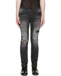 Diet Butcher Slim Skin | Black Skinny Damaged Repair Jeans | Lyst