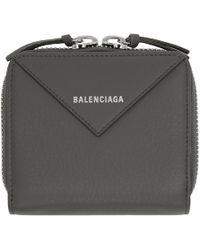 Balenciaga - Grey Thin Papier Zip Wallet - Lyst
