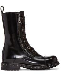 Dolce & Gabbana Black Patent Leather Combat Boots