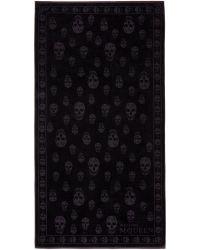 Alexander McQueen Black Tonal Skulls Towel