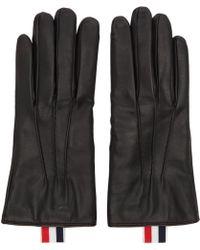 Thom Browne Black Leather Gloves