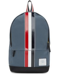 Thom Browne - Grey & Tricolor Striped Backpack - Lyst