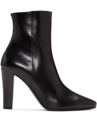 Saint Laurent - Lily Leather Ankle Boots - Lyst