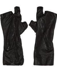 Julius - Black Textured Fingerless Zip Gloves - Lyst