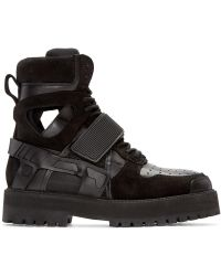 Hood By Air - Ssense Exclusive Black Leather & Suede Avalanche Boots - Lyst
