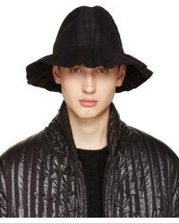 Issey Miyake Black Pleated Bucket Hat - Natural